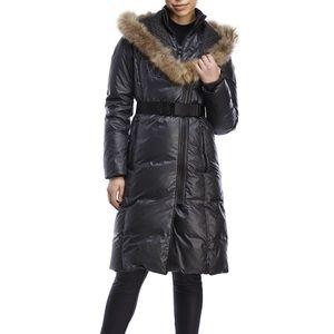 Rud styled by Rudsak Faux Fur belted puffer coat